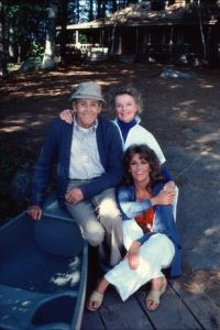 jane fonda with dad and kate hepburn sitting smiling