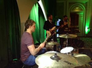 trimble on drums with laura and the firm 6 nations party