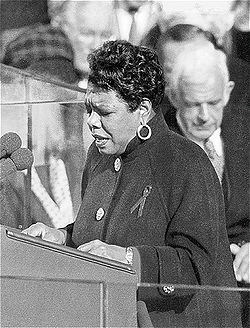 Maya angelou reading her poem at clintons in aug